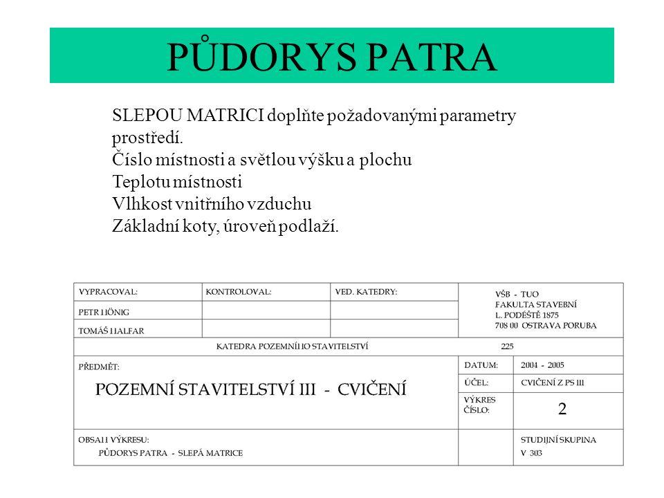 PŮDORYS PATRA SLEPOU MATRICI doplňte požadovanými parametry prostředí.