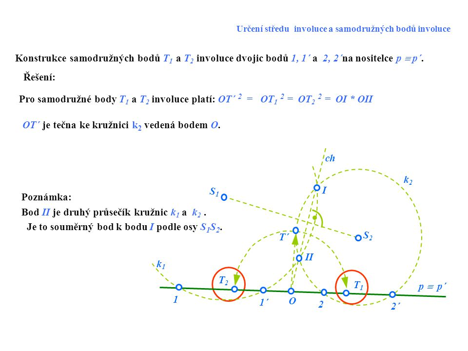 OT´ je tečna ke kružnici k2 vedená bodem O.