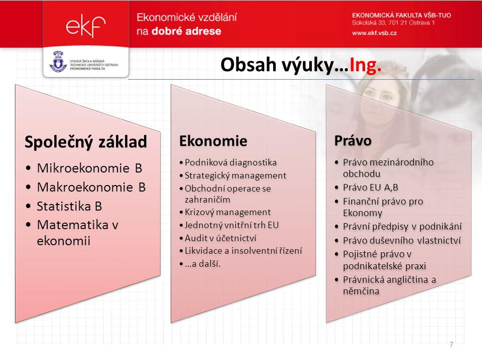 Obsah výuky…Ing. Společný základ Ekonomie Právo Mikroekonomie B