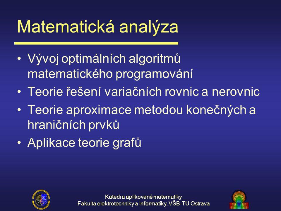 Matematická analýza Vývoj optimálních algoritmů matematického programování. Teorie řešení variačních rovnic a nerovnic.