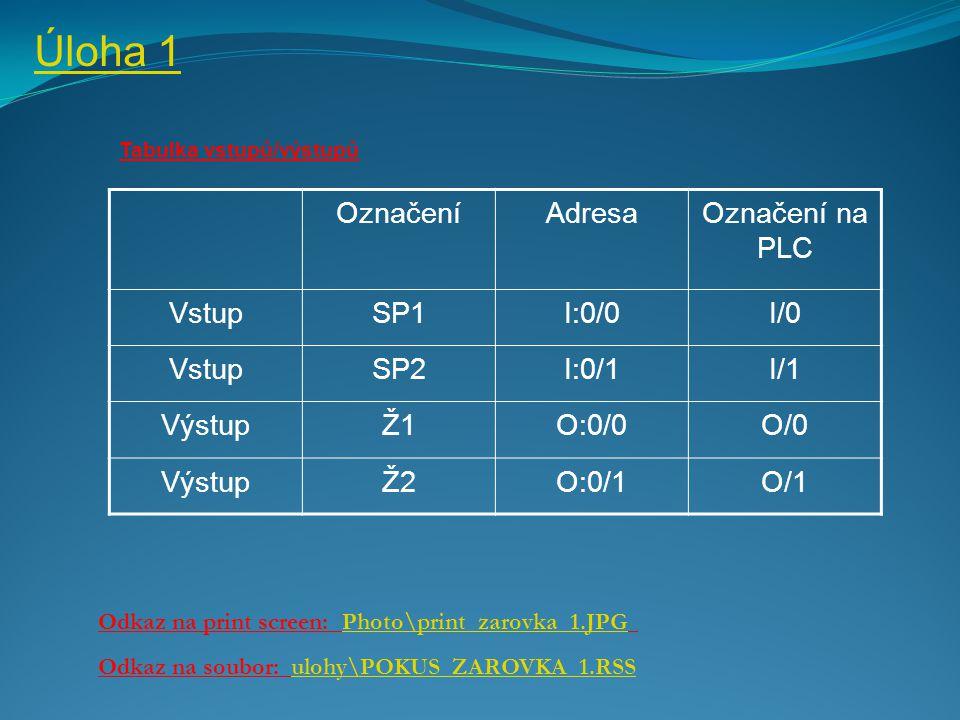 Úloha 1 Označení Adresa Označení na PLC Vstup SP1 I:0/0 I/0 SP2 I:0/1