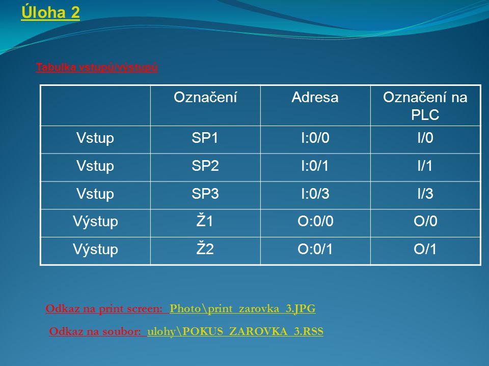 Úloha 2 Označení Adresa Označení na PLC Vstup SP1 I:0/0 I/0 SP2 I:0/1