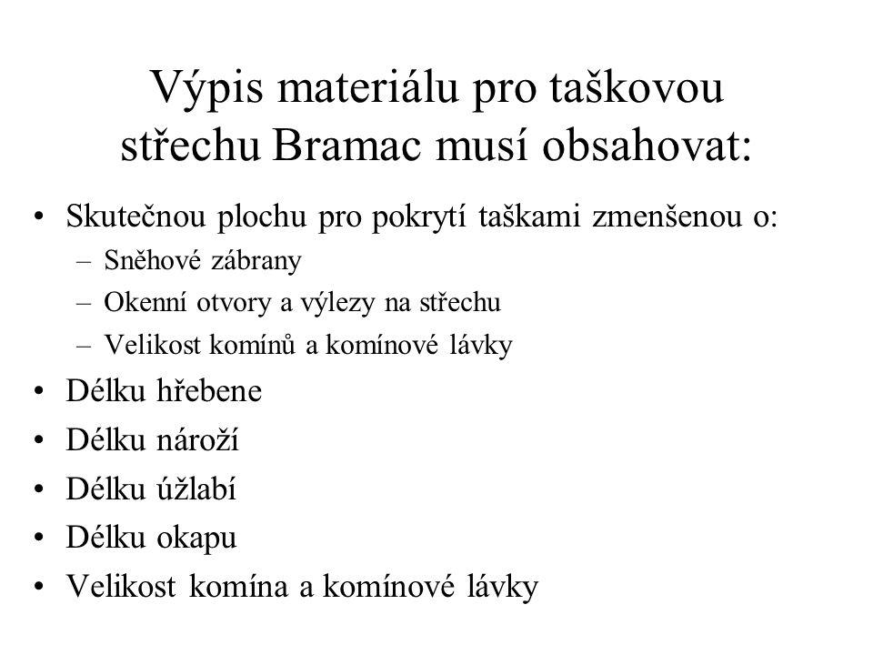 Výpis materiálu pro taškovou střechu Bramac musí obsahovat: