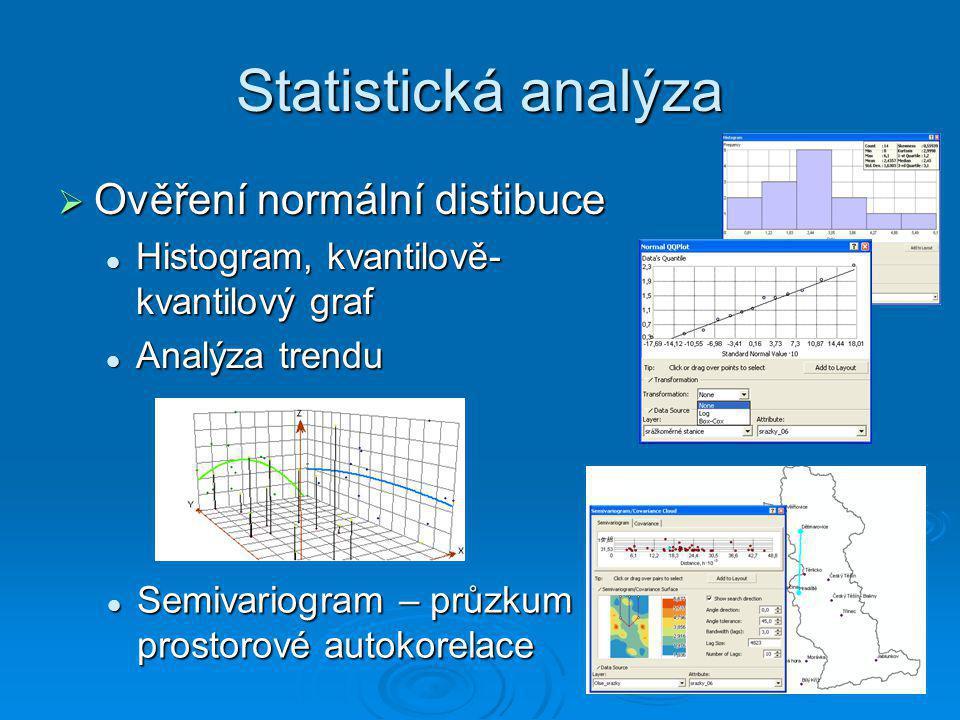 Statistická analýza Ověření normální distibuce
