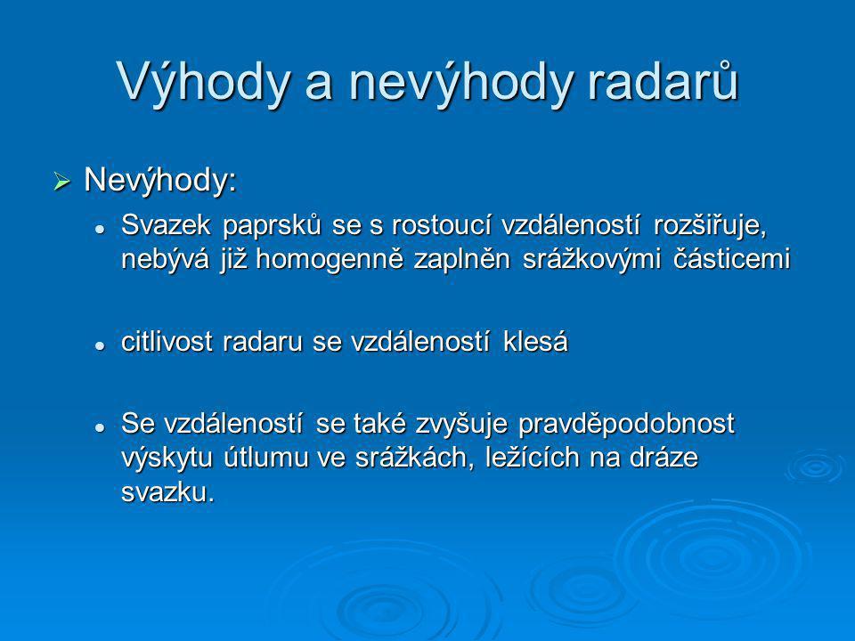 Výhody a nevýhody radarů