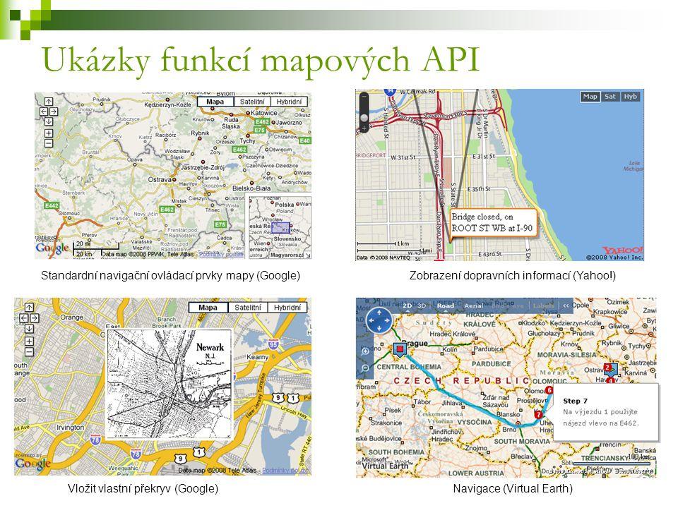 Ukázky funkcí mapových API