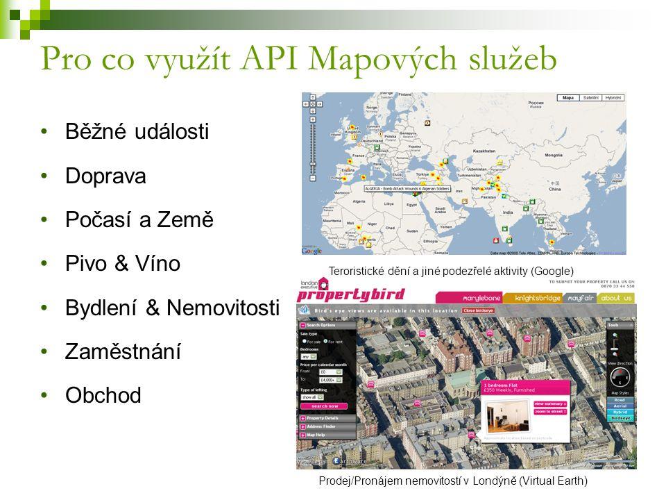 Pro co využít API Mapových služeb