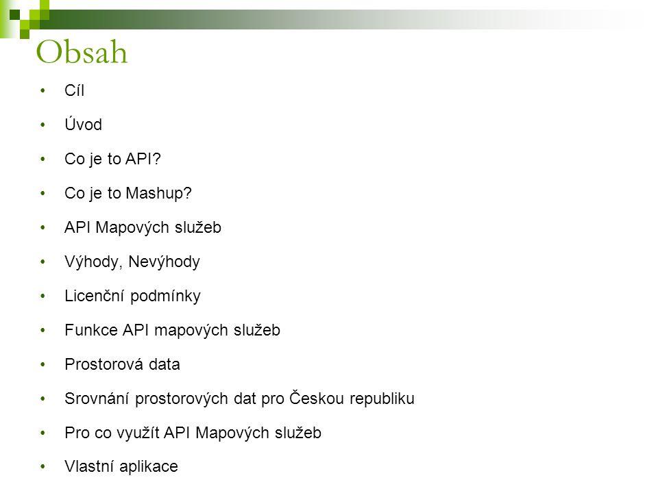 Obsah Cíl Úvod Co je to API Co je to Mashup API Mapových služeb