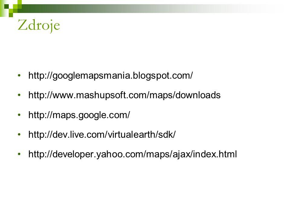 Zdroje http://googlemapsmania.blogspot.com/