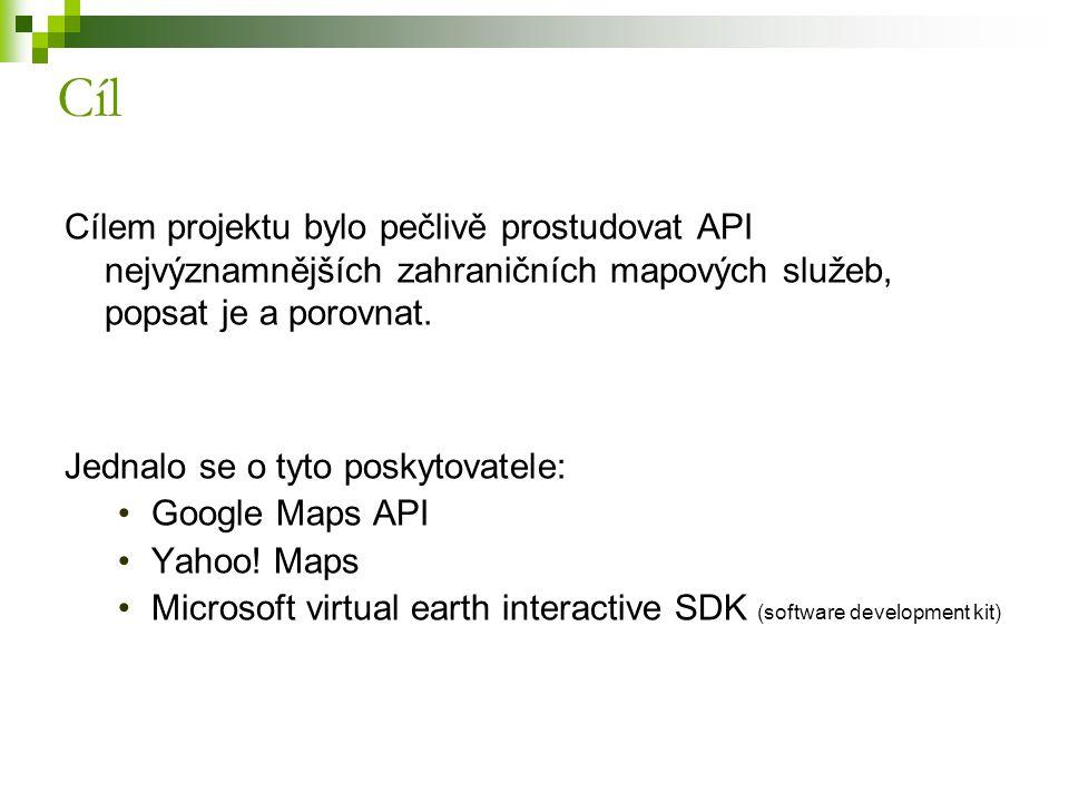 Cíl Cílem projektu bylo pečlivě prostudovat API nejvýznamnějších zahraničních mapových služeb, popsat je a porovnat.