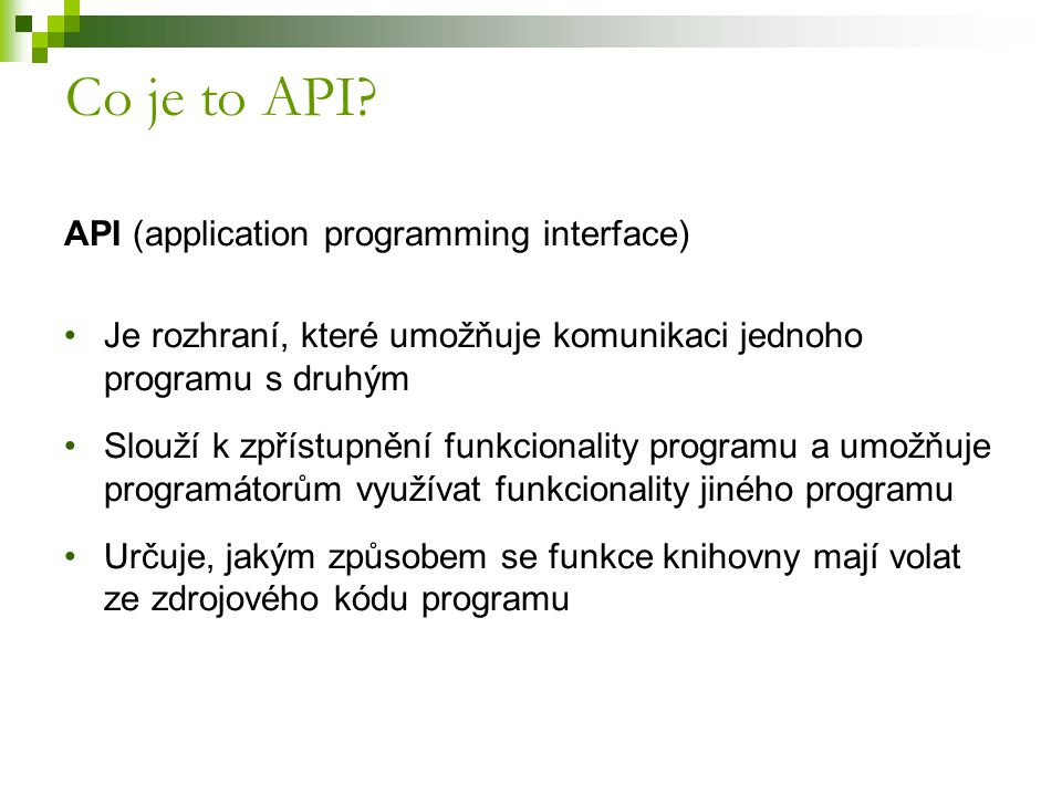 Co je to API API (application programming interface)