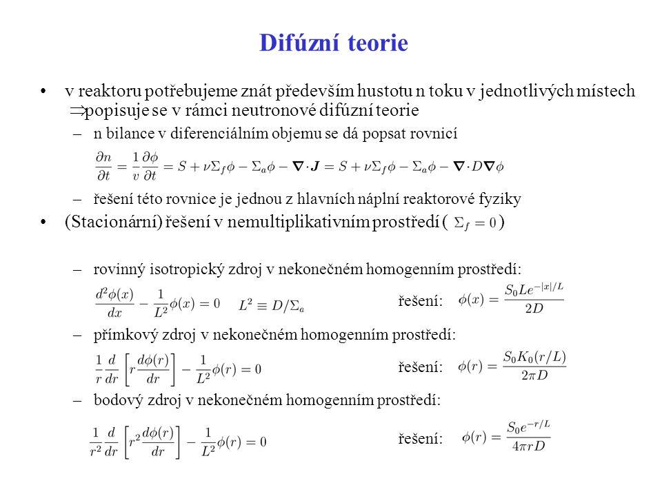 Difúzní teorie v reaktoru potřebujeme znát především hustotu n toku v jednotlivých místech Þ popisuje se v rámci neutronové difúzní teorie.