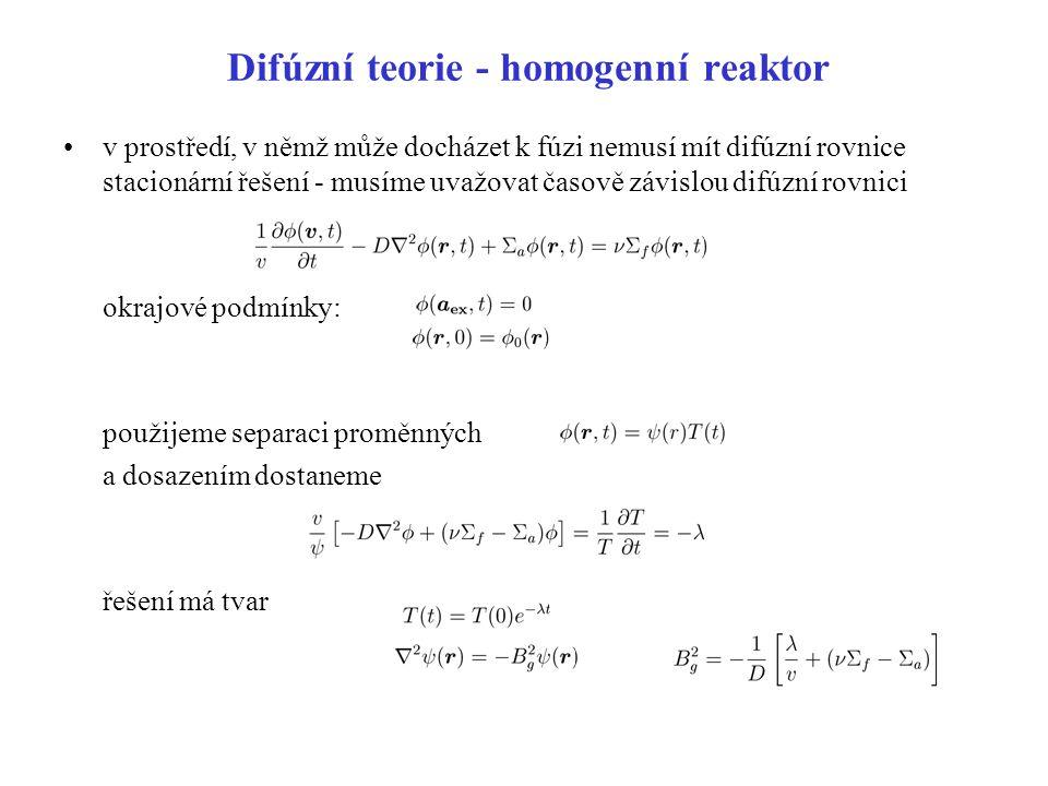 Difúzní teorie - homogenní reaktor