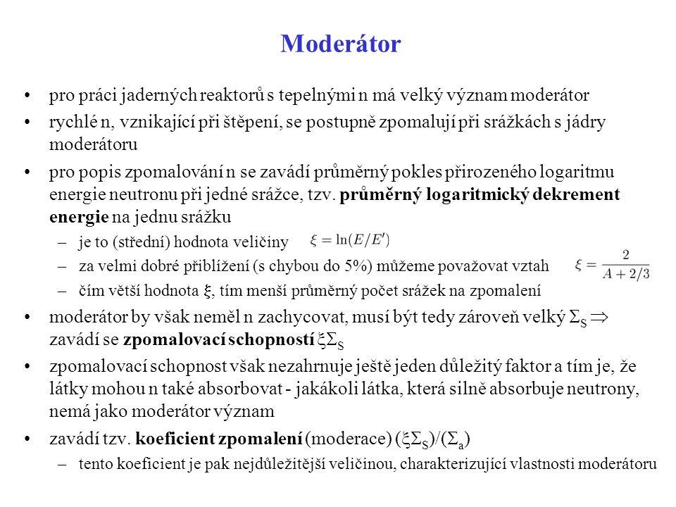 Moderátor pro práci jaderných reaktorů s tepelnými n má velký význam moderátor.