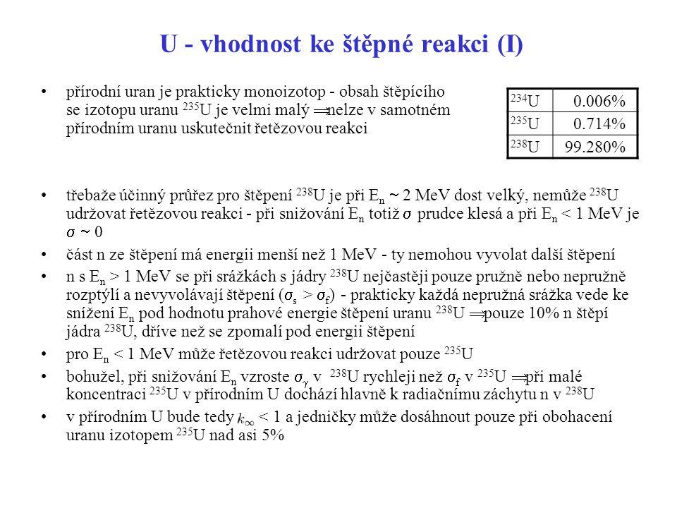 U - vhodnost ke štěpné reakci (I)