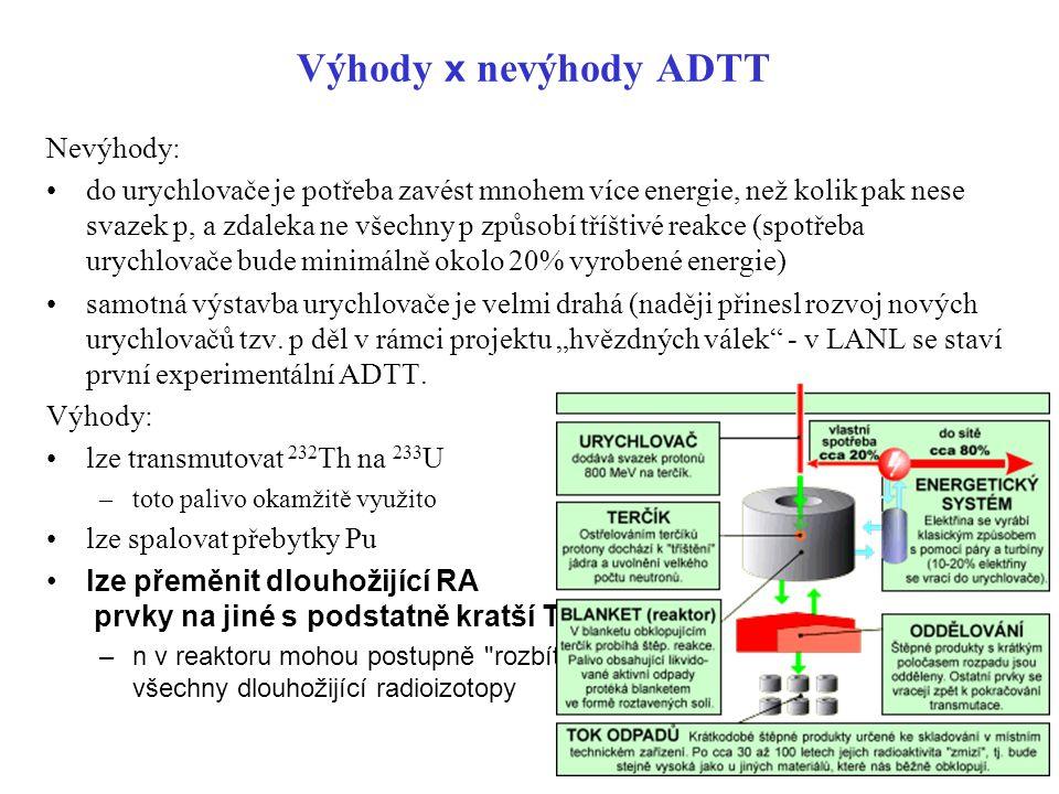 Výhody x nevýhody ADTT Nevýhody:
