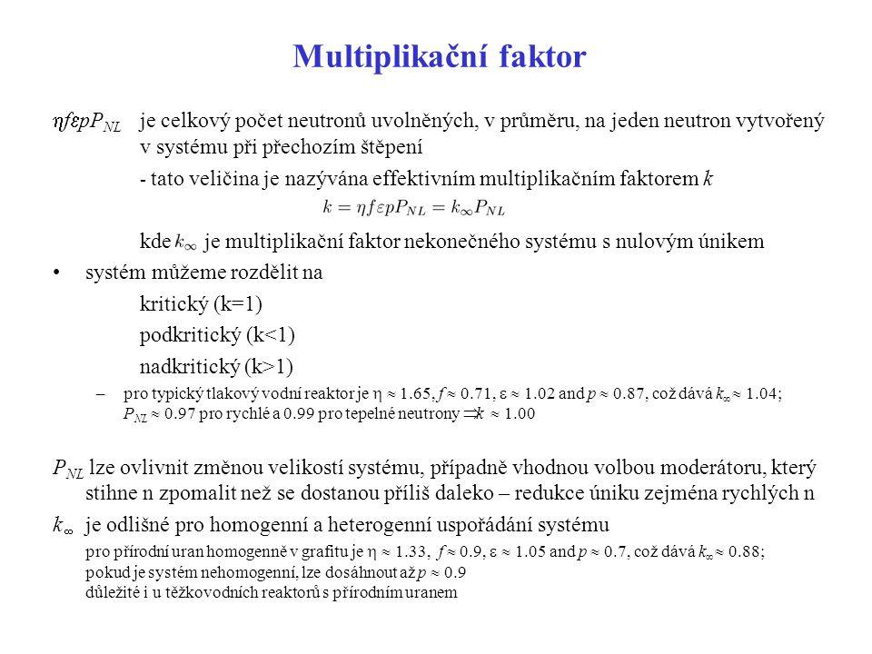 Multiplikační faktor hfepPNL je celkový počet neutronů uvolněných, v průměru, na jeden neutron vytvořený v systému při přechozím štěpení.