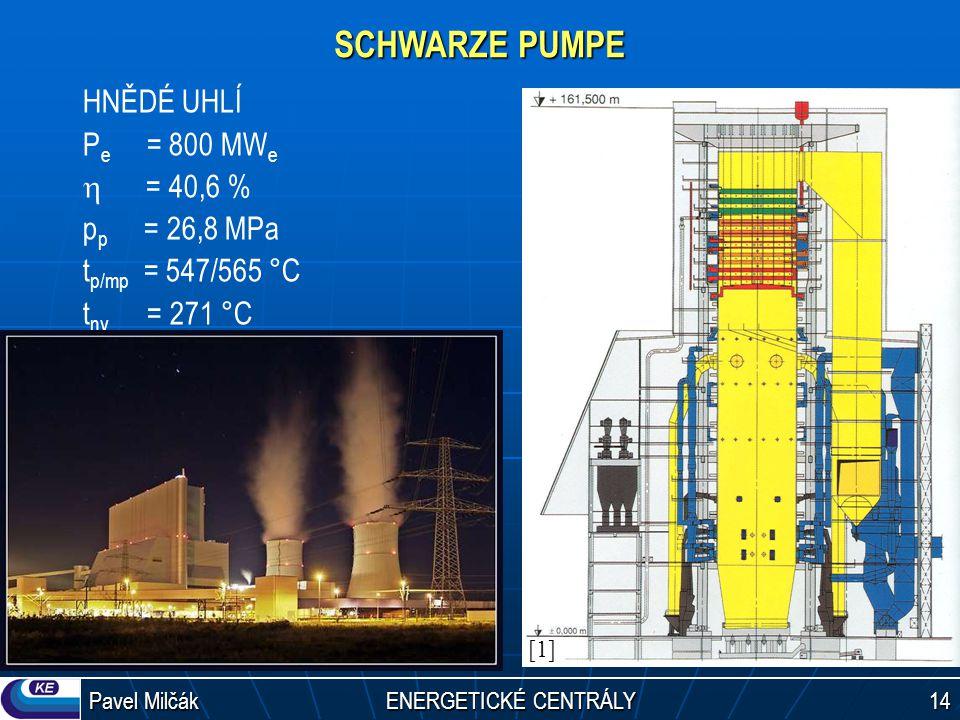 SCHWARZE PUMPE HNĚDÉ UHLÍ Pe = 800 MWe h = 40,6 % pp = 26,8 MPa