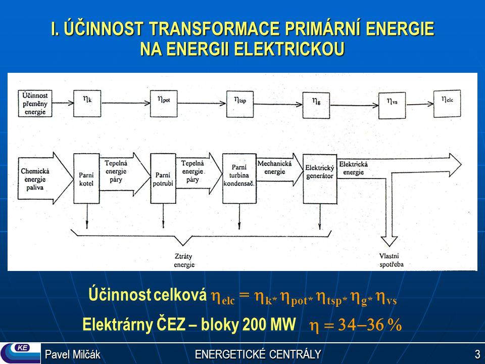 I. ÚČINNOST TRANSFORMACE PRIMÁRNÍ ENERGIE NA ENERGII ELEKTRICKOU