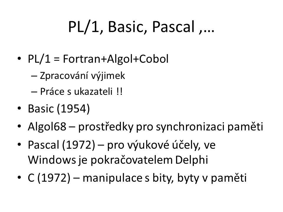 PL/1, Basic, Pascal ,… PL/1 = Fortran+Algol+Cobol Basic (1954)