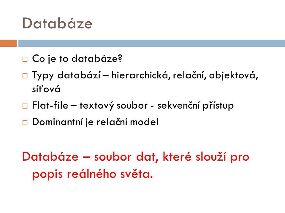 Databáze Databáze – soubor dat, které slouží pro popis reálného světa.
