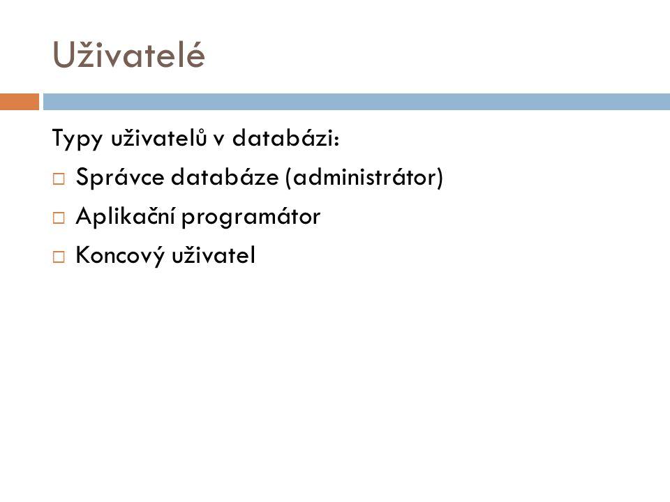 Uživatelé Typy uživatelů v databázi: Správce databáze (administrátor)