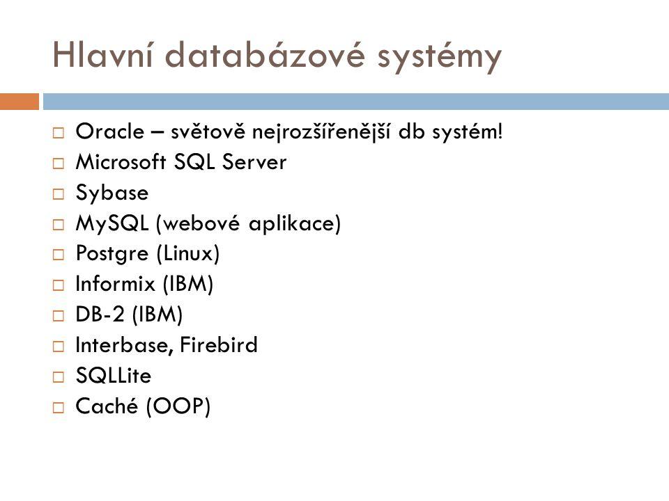 Hlavní databázové systémy