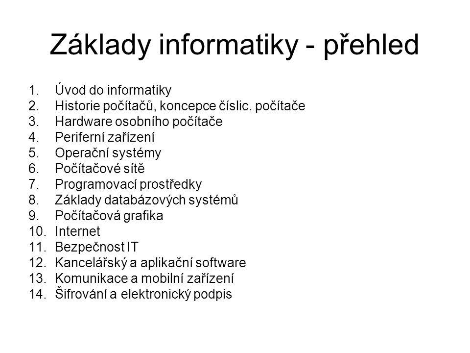 Základy informatiky - přehled