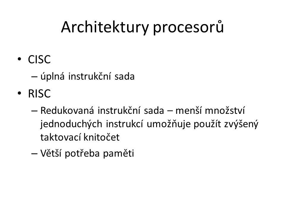 Architektury procesorů
