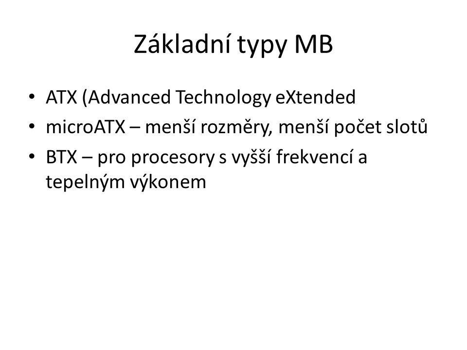 Základní typy MB ATX (Advanced Technology eXtended