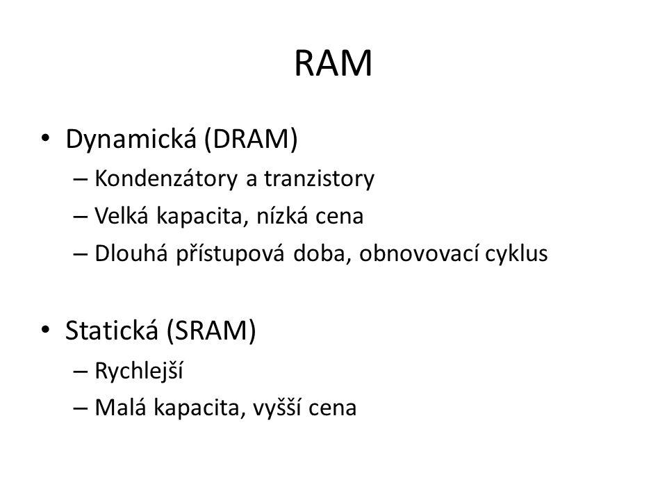 RAM Dynamická (DRAM) Statická (SRAM) Kondenzátory a tranzistory