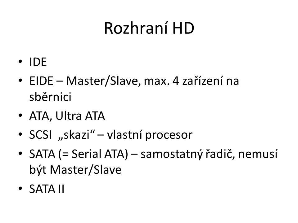 Rozhraní HD IDE EIDE – Master/Slave, max. 4 zařízení na sběrnici