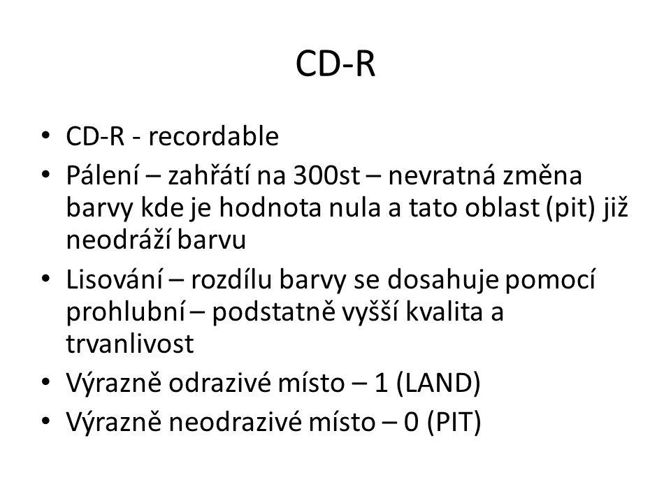 CD-R CD-R - recordable. Pálení – zahřátí na 300st – nevratná změna barvy kde je hodnota nula a tato oblast (pit) již neodráží barvu.