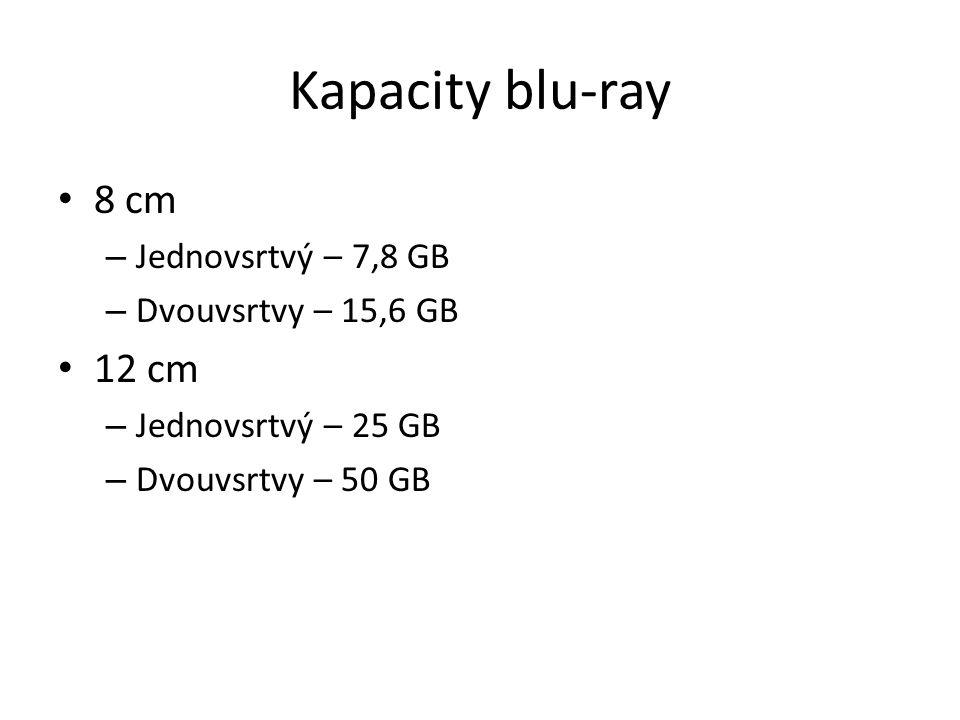 Kapacity blu-ray 8 cm 12 cm Jednovsrtvý – 7,8 GB Dvouvsrtvy – 15,6 GB