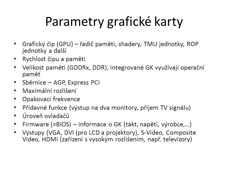 Parametry grafické karty