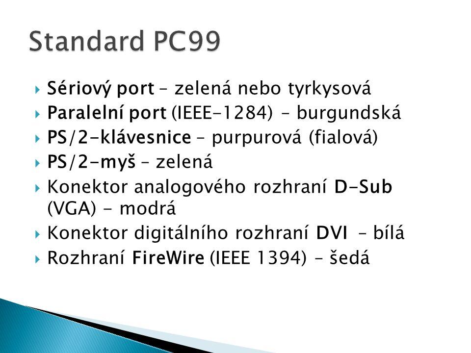 Standard PC99 Sériový port – zelená nebo tyrkysová