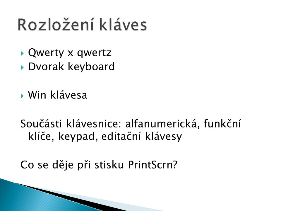 Rozložení kláves Qwerty x qwertz Dvorak keyboard Win klávesa