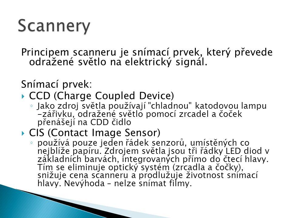 Scannery Principem scanneru je snímací prvek, který převede odražené světlo na elektrický signál. Snímací prvek: