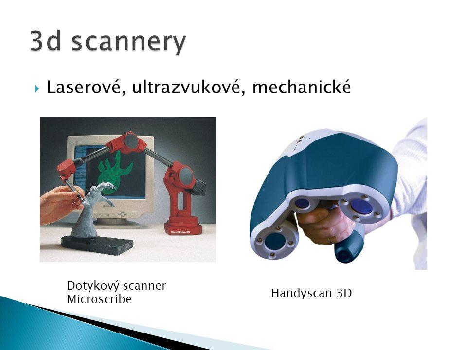 3d scannery Laserové, ultrazvukové, mechanické