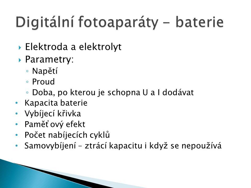 Digitální fotoaparáty - baterie