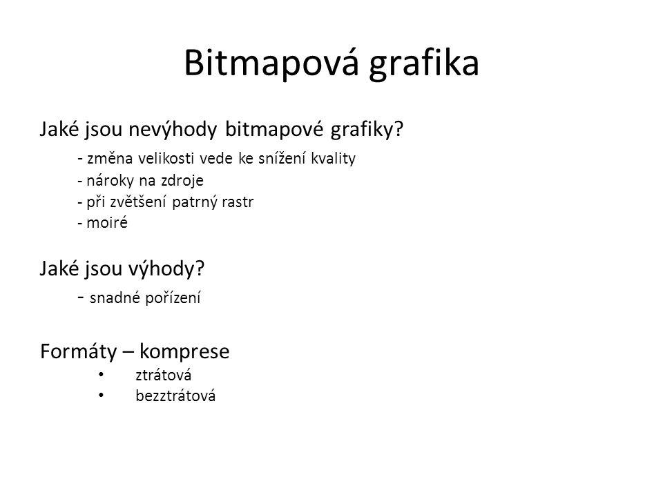 Bitmapová grafika Jaké jsou nevýhody bitmapové grafiky