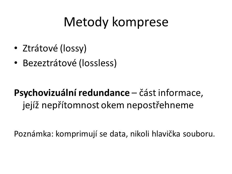 Metody komprese Ztrátové (lossy) Bezeztrátové (lossless)