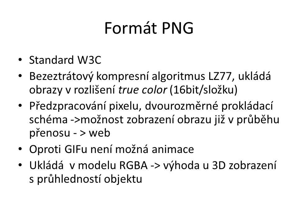 Formát PNG Standard W3C. Bezeztrátový kompresní algoritmus LZ77, ukládá obrazy v rozlišení true color (16bit/složku)