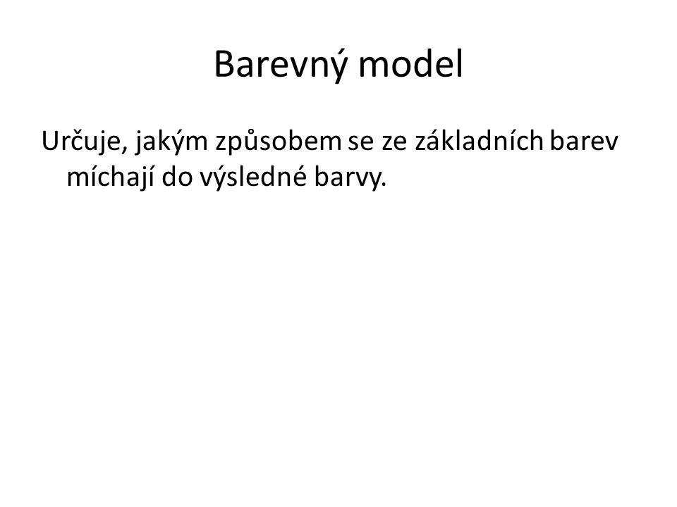 Barevný model Určuje, jakým způsobem se ze základních barev míchají do výsledné barvy.