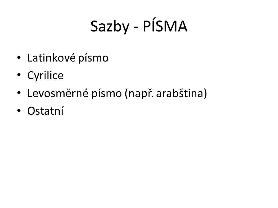 Sazby - PÍSMA Latinkové písmo Cyrilice