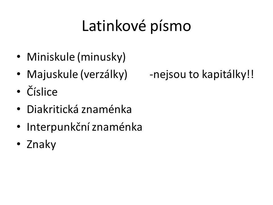 Latinkové písmo Miniskule (minusky)