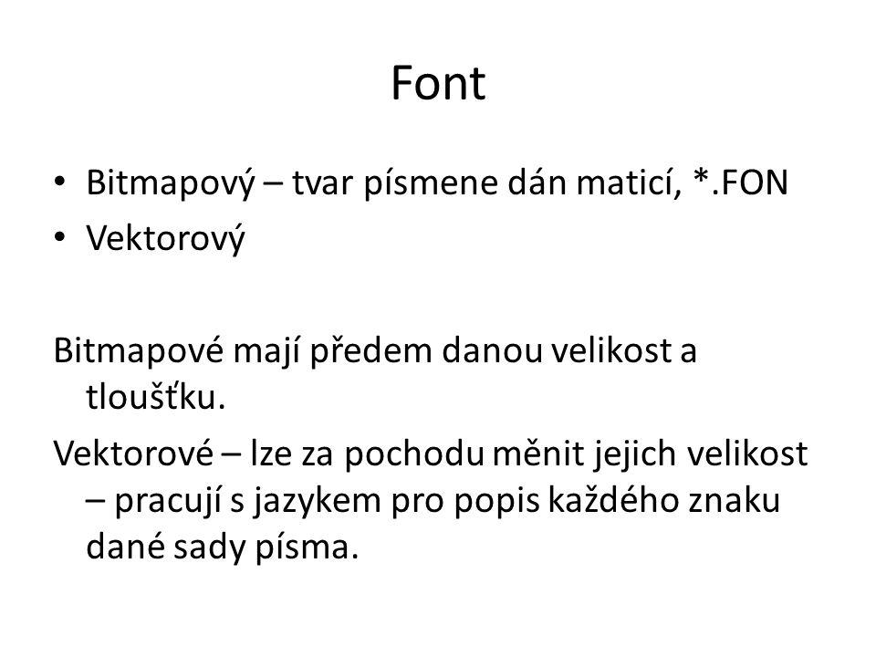 Font Bitmapový – tvar písmene dán maticí, *.FON Vektorový