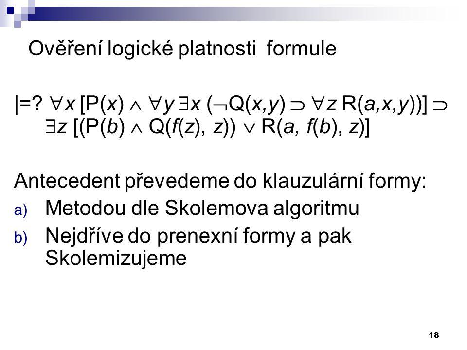 Ověření logické platnosti formule