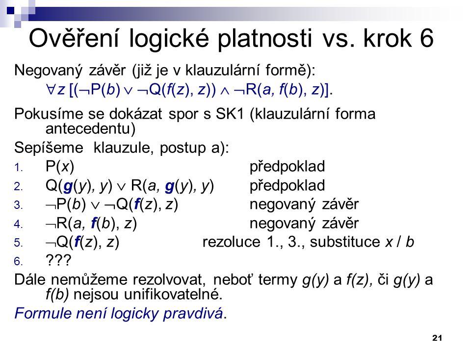 Ověření logické platnosti vs. krok 6