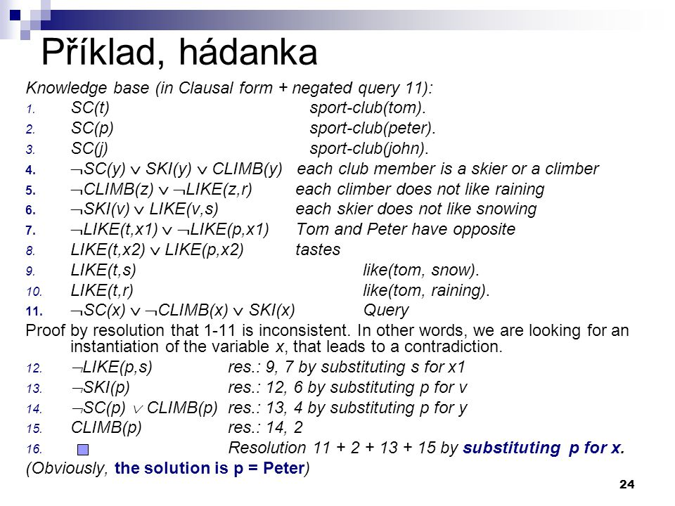 Příklad, hádanka Knowledge base (in Clausal form + negated query 11):